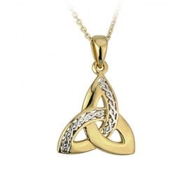 Trinity Knot Pendant with Silver Knot Detail, Gold Plated