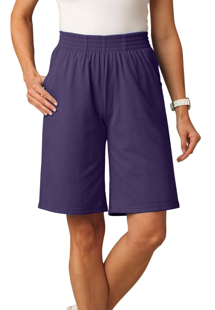 Knit shorts with scoop pockets, full elastic waist - Women's Plus Size Clothing