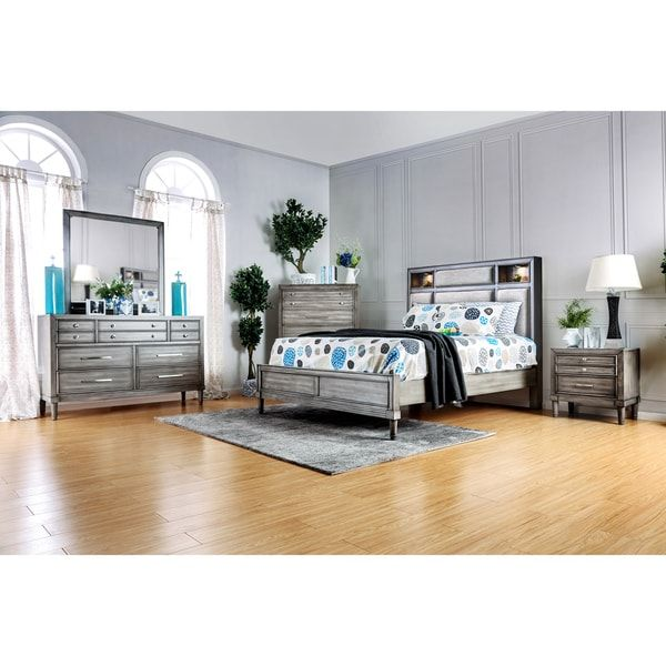 Furniture of America Braysen Transitional 4-piece Bookcase Headboard Grey Bedroom Set | Overstock.com Shopping - The Best Deals on Bedroom Sets