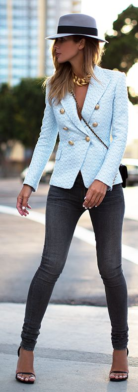 Blue Tweed Blazer Women's Clothing | Fashion | Style | Jeans | Dress | Cute Outfits | #fashion #outfit #style | SHOP @ CollectiveStyles.com