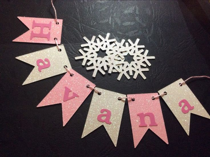 Pink and snow coloured glitter cake garland, Any Name personalised Cake Bunting