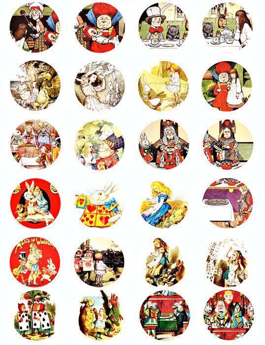 Alice In Wonderland Vintage art illustrations digital download collage sheet  images graphics art 1.5 INCH circles scrapbooking crafts