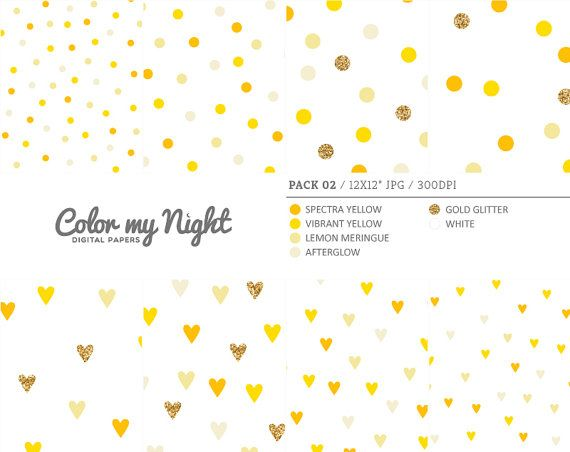 Digital Paper Yellow 'Pack02' Gold Glitter & by ColorMyNight