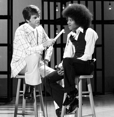 Dick Clark interviewing a young Michael Jackson.