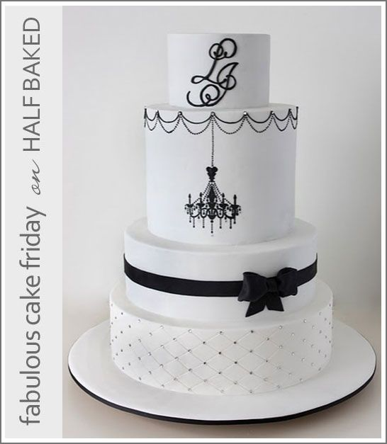 Black White Cake Chandelier