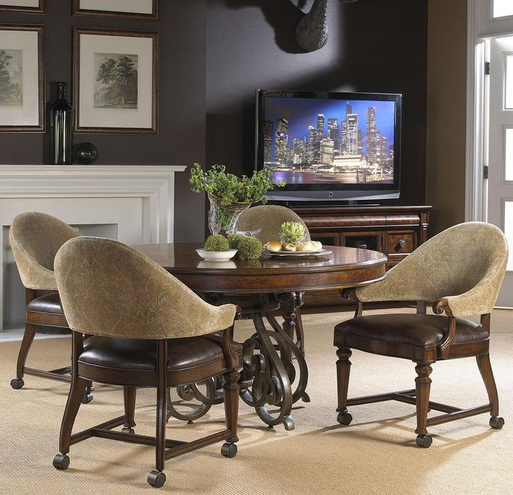 Highlands Round Game Table W 4 Arm Chairs By Fine Furniture FurnitureFurniture DesignLiving Room