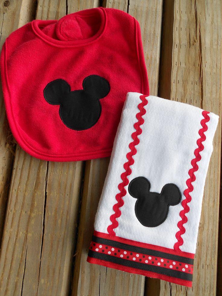 Mickey Mouse Applique Bib and Burp Cloth by pumpkinpatchbowtique, $13.00