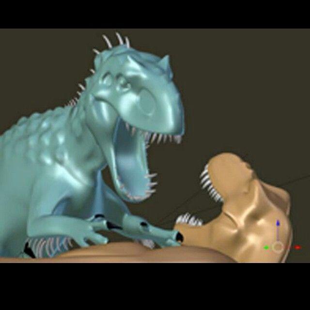 Jurassic World - Early CGI of I-Rex vs T-Rex battle ...