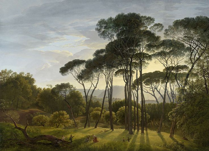 Italian Landscape with Umbrella Pines, Hendrik Voogd, 1807 oil on canvas, h 101.5cm × w 138.5cm  The artist seems to have changed the image to make it romantic.   The trees seem larger than life and the light shining through has a romantic sense about it.