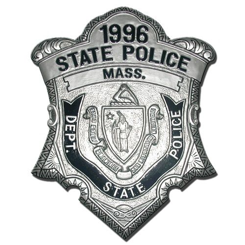 Massachusetts State Police Department replica wooden badge plaques