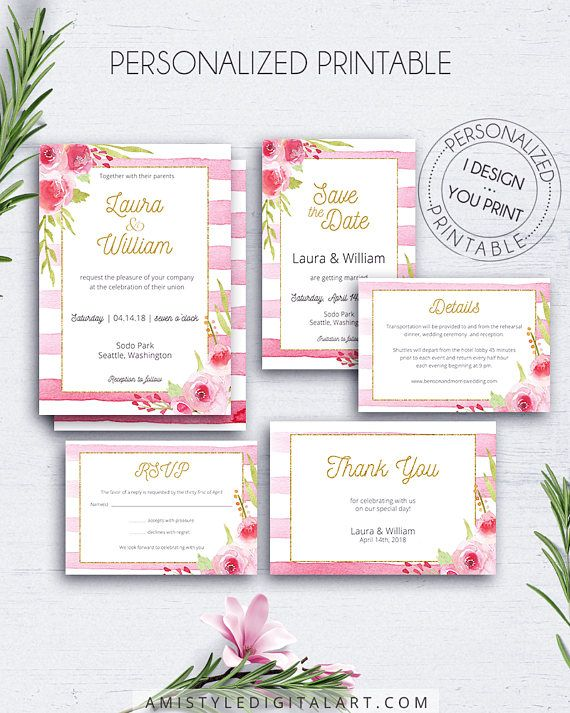Romantic Invitation, Pink Stripes, with adorable and stylish hand-painted watercolor roses and gold glitter lettering.Printable digital file customized with your wedding information.Build your suite - choose your card combination! By Amistyle Digital Art on Etsy