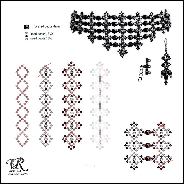 Free pattern for necklace Black Swan | Beads Magic