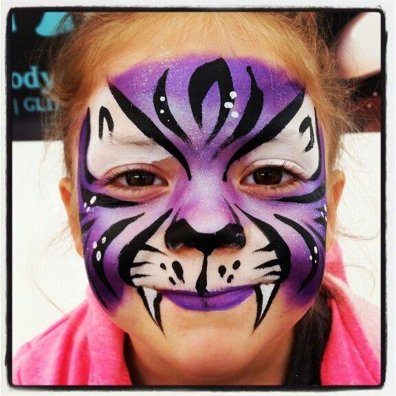 Purple tiger face paint painting Body Art make up superstar Www.facebook.com/vizardfacebodyart Www.vizardfacebodyart.co.uk