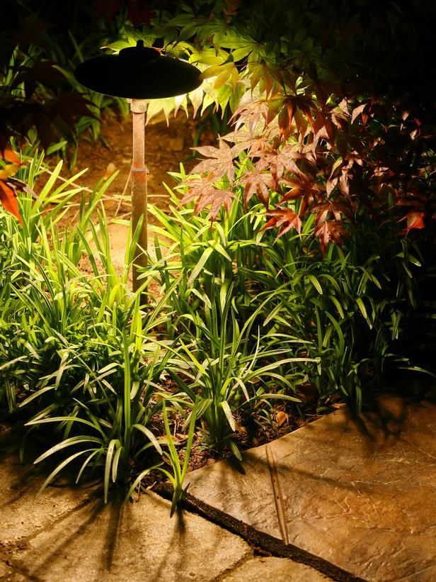22 Landscape Lighting Ideas: Path lights are visual aids in a dark space, but they also add color and texture if you place them near interesting plants. This way, you can retain pieces of your garden's charm long after the sun sets. From DIYnetwork.com