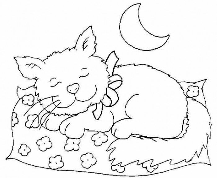 Cat Sleeping At Night Coloring Page Cat Printable Cat Coloring Page Coloring Pages