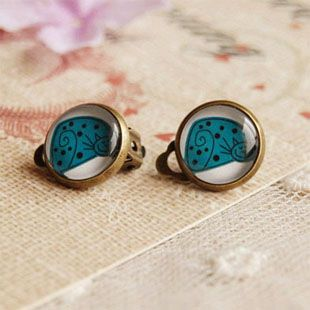 Pretty Blue Cat Clip Earrings Without Piercing for Kids Christmas Birthday Gifts Handmade Photo Glass Cabochon Jewelry rj18