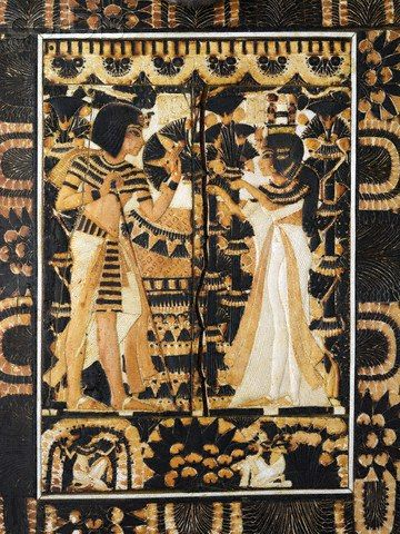 Details of one of the chests of king Tutankhamun with the wedding scene