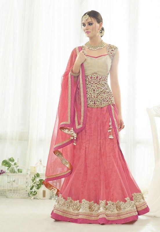 Designer Peach Colour Net Wedding Wear Lehenga choli Buy Sarees