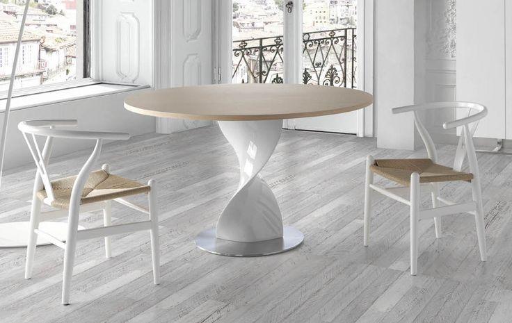 Les Tendances : Table ronde Bois noyer en fibre de verre plateau en Verre Torsada D 110 x H 76 cm