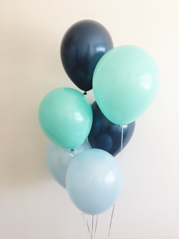 Light Blue Navy Mint Latex Balloons Navy  by OhhHowCharming
