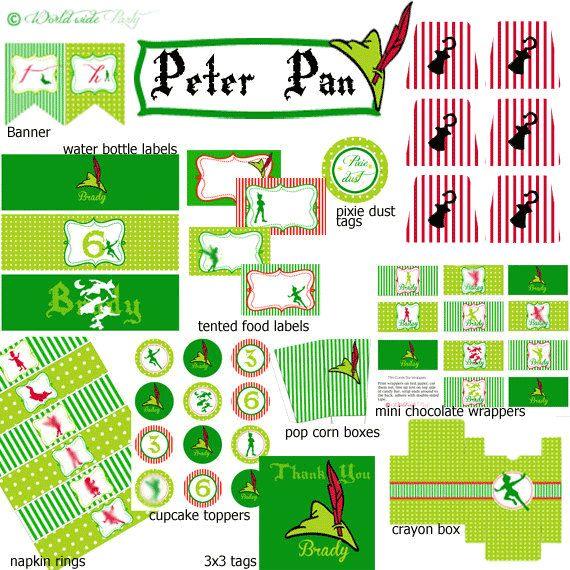 Peter Pan Party Printable Birthday KIT - Neverland Tinkerbell Peter Pan Party - Digital File - PDF. $29.00, via Etsy.
