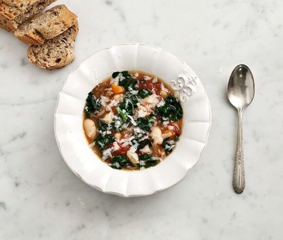 Kale, mushroom and white bean stew