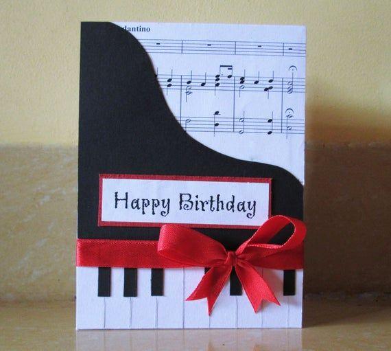 Piano Happy Birthday Card Music Themed Birthday Greeting Card