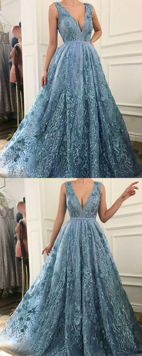 A-Linie V-Ausschnitt Sweep Zug Blau Abendkleid mit Applikationen Perlen von RosyProm, $ 1 …   – فساتين