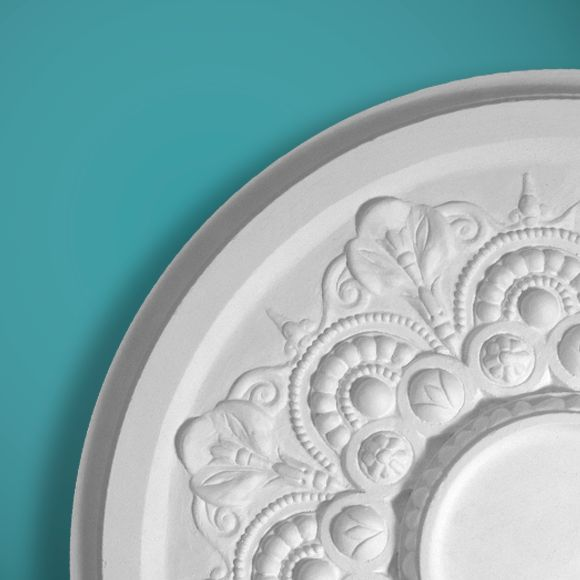 CP62 is an attractive medium sized plaster ceiling rose.  It has a plain centre section ideal for any light fitting.  Dimensions:-  Diameter:-575mm.  The plain centre section:-130mm.  Depth:-25mm.