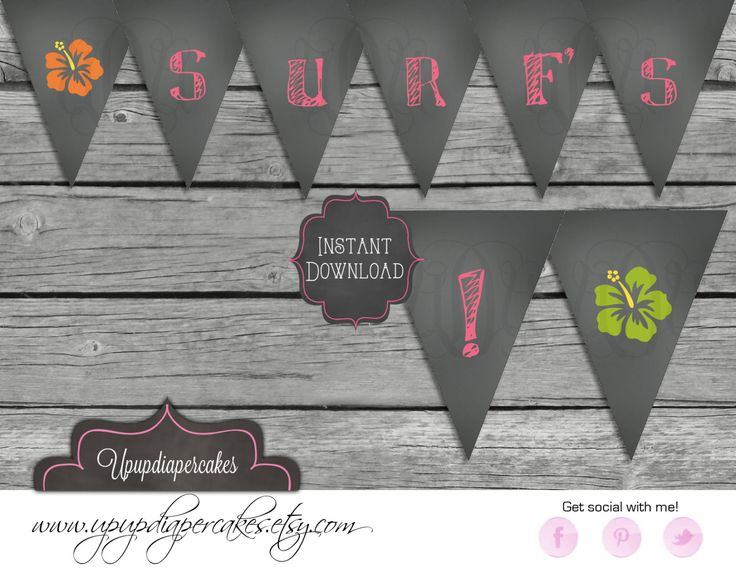 Party Banner--Chalkboard Design--Hawaiian Surfing--Digital Banner--Digital File--Printable--DIY by upupdiapercakes on Etsy https://www.etsy.com/listing/155915508/party-banner-chalkboard-design-hawaiian