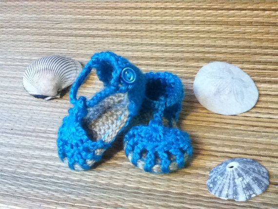 Bright Blue Baby Sandals by AIMCrochet on Etsy, $15.00