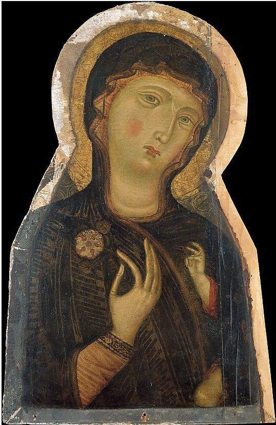 Painting (fragment of a large painting) by the Master of the Magdalen, ca. 1280, Madonna and Child, tempera on wood. (Florence)
