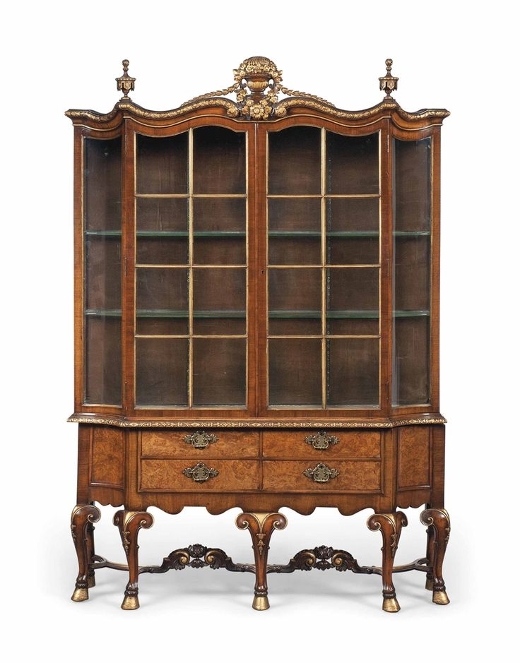 A Walnut And Parcel Gilt Display Cabinet Of Queen Anne Style Mid 20th Century