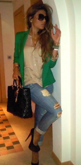 Distressed jeans, silk blouse & a statement blazer