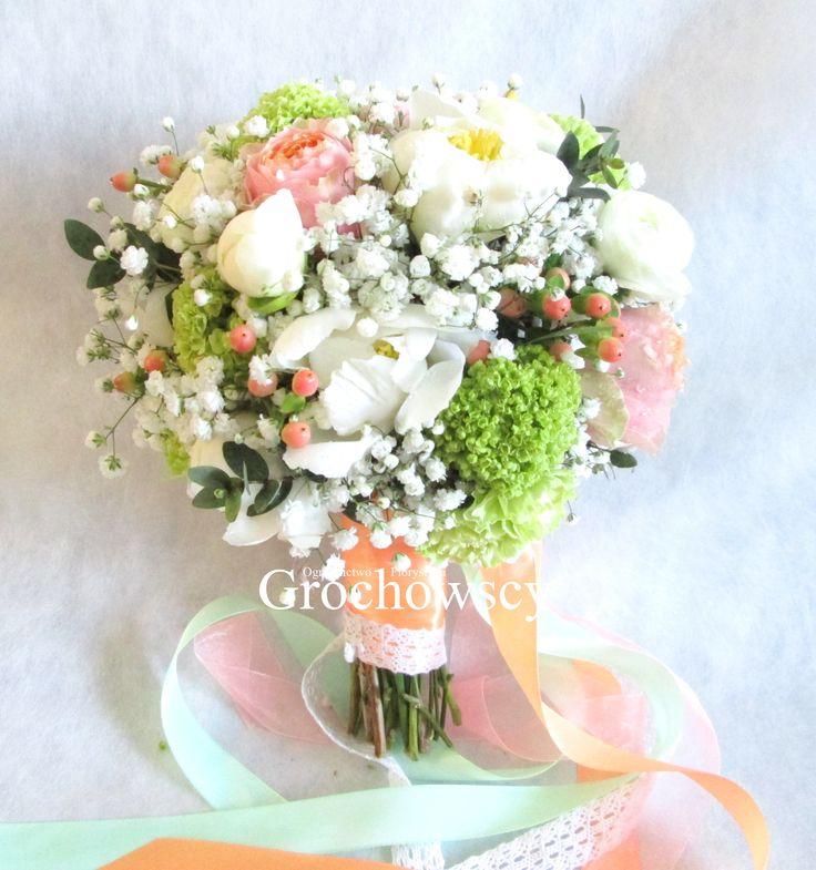 bukiet ślubny Człuchów  white peonies wedding bouquet #piwonie #różeangielskie