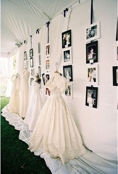 Ceremony Decor | Expose old family wedding gowns (wouldn't work for me but it's a really cool idea)