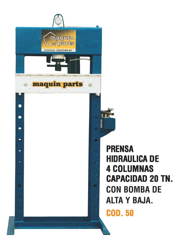 Prensa hidráulica de 4 columnas capacidad 20 toneladas