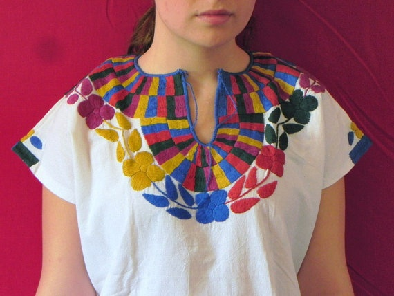 Mexican White Blouse Romantic Lovely Colorful Handmade Embroidery