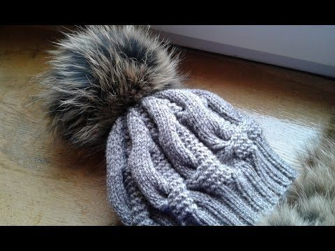 Шапка спицами из объемных кос. Часть 2 // Women's hats knitting - YouTube