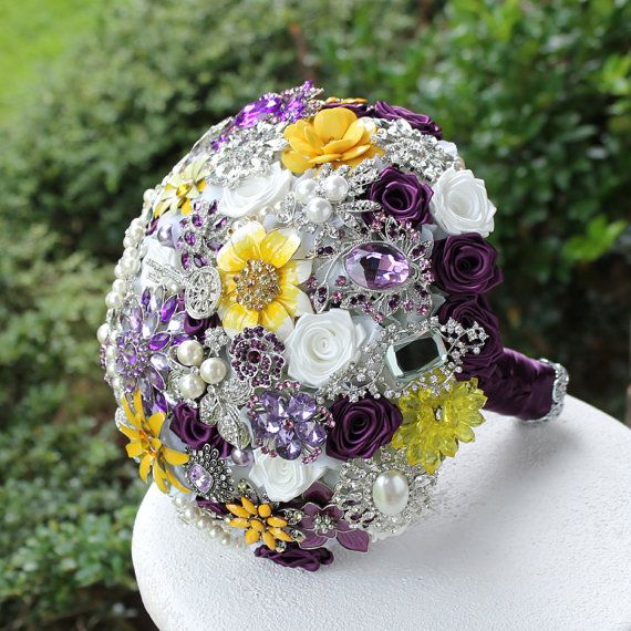 Purple and Yellow Wedding Brooch Bouquet. Deposit by annasinclair