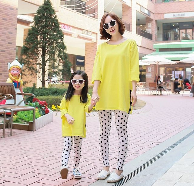 mother and daughter clothes yellow dress Korean kids clothing 2015 summer family look kids fashion children's clothes