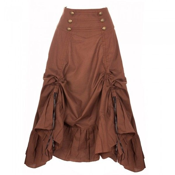 Brown Steampunk Skirt with Gathered detail ❤ liked on Polyvore featuring skirts, ruched skirt, shirred skirt, steampunk skirt, embellished skirt and brown knee length skirt