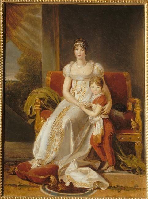 1806 Hortense de Beauharnais, reine de Hollande with Napoleon Charles Bonaparte by François-Pascal-Simon Gérard (Versailles) | Grand Ladies | gogm