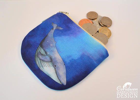 Whale Coin Purse Handmade Purse Zip Purse Make-up Bag by ceridwenDESIGN http://ift.tt/2pOqvtL