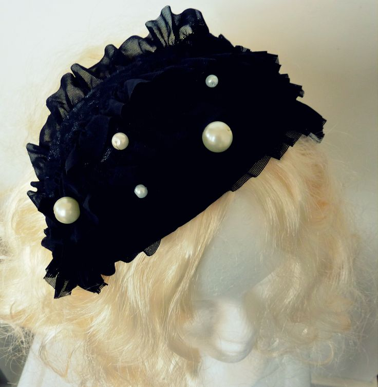 black frilly lace and white and cream pearl headpiece