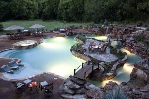 Tropical Backyard With Lazy River Pool Design Ideas, Pictures, Remodel ...