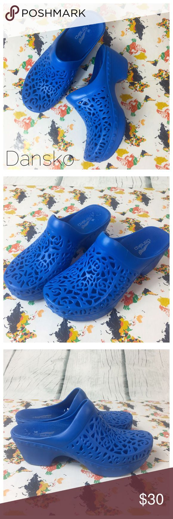 """Dansko Laser Cut Rubber molded Clog Dansko Pippa Women's Laser-cut Blue Rubber Clogs Blue 36/5.5-6 Preowned  Heel 2.5"""" 0210 Bundle in my closet and save. I ship same day or next day almost always! No Dansko Shoes Mules & Clogs"""