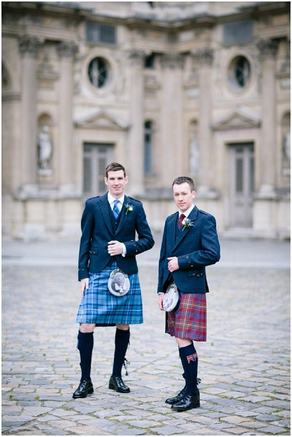 Grooms in Kilts in Paris | Photography © Ian Holmes on French Wedding Style Blog with styling by Fête in France