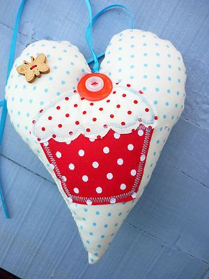 Hanging Lavender Heart Applique Spotty Dotty Cup Cake Shabby Chic Gift Blue Red | eBay