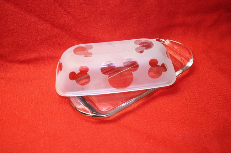 MICKEY MOUSE  KITCHEN GLASS BUTTER DISH * NEW STYLE*